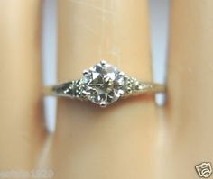 ANTIQUE ART DECO DIAMOND ENGAGEMENT RING CIRCA ~ 1930'S  DIAMOND ~ ROUND BRILLIANT CUT COLOR ~ N - O CLARITY ~ VS 1 - VS 2 SIZE ~ .43CT METAL ~ 14KW SOLID GOLD WEIGHT ~ 2 GRAMS FINGER SIZE ~ 6  (SIZABLE) U.S.A. & CANADA (L1/2) UNITED KINGDOM, IRELAND, AUSTRALIA & NEW ZEALAND