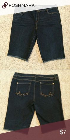 Jean cut offs Slim tech fit. Dark jean color. These were regular jeans made into cut offs by my daughter. They now fall right below the knee. Great condition except for one stitch missing on back pocket INC International Concepts Shorts Jean Shorts