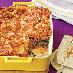 Ultimate Spinach and Turkey Lasagna. This healthy lasagna recipe features ground turkey instead of beef, reduced-fat cheese and vitamin-packed spinach. Using store-bought marinara sauce helps keep it easy.