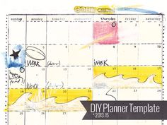 DIY planner templates from collage artist Amanda Hawkins Monthly Planner Template, Printable Planner Pages, Printables, Schedule Templates, Calendar Templates, Organization Skills, Organizing Ideas, Life Planner, Planner Diy