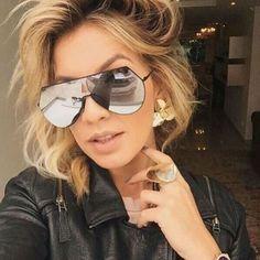 Newest Oversize Sunglasses Women Fashion Mirror Lens Alloy Pilot Sunglass Classic Female Goggle Pionts Unisex Eyewear UV400