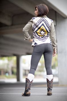 love the Aztec jacket. great price too. Cowboy boots with boots socks and jeggings!! Bring on the fall weather!