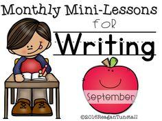 Writing Mini-Lessons - Tunstall's Teaching Tidbits, september mini lessons, writing september, september writing, first grade writing,