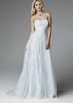 Strapless A-Line Wedding Dress with Sweep Train $311.68 Embroidery / Bead Wedding Dresses