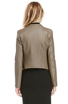 BB Dakota Tyne Leather Jacket in Taupe S - M | DAILYLOOK