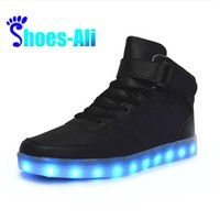 High top led sneakers men neon black casual boots male flat neon basket led shoes tenis led light up lace unisex hot fashion High Top Sneakers, Moda Sneakers, Sneaker High, Sneakers Mode, Casual Sneakers, Sneakers Fashion, Casual Shoes, Black Sneakers, Sneakers 2016