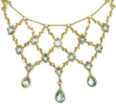 Detail: Antique gold filigree, aquamarine, and pearl necklace, circa 1890. Via Diamonds in the Library.