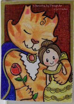 #ACEO Original Joy #Disney Fan Art Beauty Belle Beast Doll Tabby Cat Kitty Mew Luv #Miniature