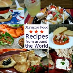 Olympic Food Recipes from-around-the-World / US / Mexico / Asia / Italy / France / Greece Party Food Themes, Dinner Themes, Party Ideas, Food Street Game, Slow Cooker Jambalaya, Around The World Theme, World Recipes, Food Festival, Greek Recipes