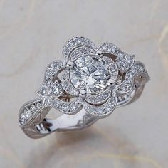 14k White Gold Moissanite Engagement Ring Diamond Wedding Ring Vintage Floral Ring Scalloped Diamond Wedding Ring 6x6 Round FB Moissanite