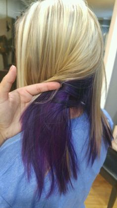 Blonde with lowlights and purple underneath. love love love my new hair! find this pin and more on hair color ideas My Hairstyle, Afro Hairstyles, Haircuts, Purple Underneath Hair, Pelo Color Azul, Curly Afro Hair, Half Dyed Hair, Underlights Hair, Dip Dye Hair