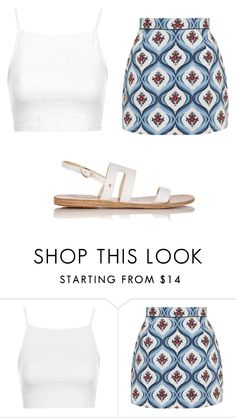 """""""Untitled #1236"""" by clarry-sinclair ❤ liked on Polyvore featuring Topshop, Ancient Greek Sandals, women's clothing, women, female, woman, misses and juniors"""
