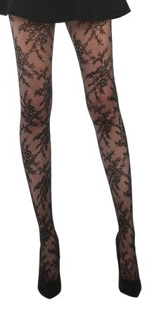 Blossom Net Tights (Black) - Pamela Mann