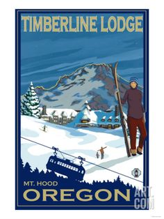 Timberline Lodge, Mt. Hood, Oregon Art Print by Lantern Press at Art.com
