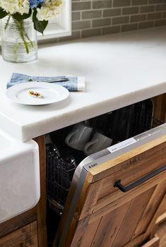 Reclaimed white oak kitchen cabinet/ dishwasher