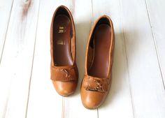 SIZE 8 1/2 Vintage MOD Brown Leather Fringed Loafers by 601VINTAGE, $22.00