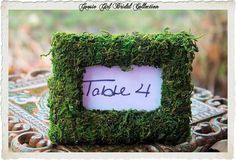 Wedding or Baby Shower Table or Name Card Moss Covered Picture Frame by GoosieGirlEtsy, $8.00