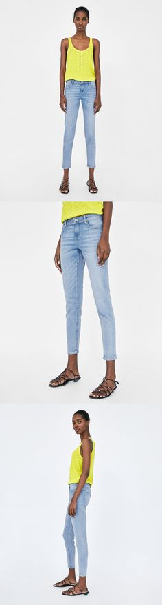 Z1975 Mid Waist Skinny Jeans // 39.90 USD // Zara // Mid-rise, faded-effect skinny jeans with five pockets and metal zip and top button fastening in the front. JOIN LIFE Care for fiber: at least 15% recycled cotton. Producing recycled fabrics has a smaller environmental impact; it consumes less water and energy and fewer natural resources. HEIGHT OF MODEL: 178 cm. / 5′ 10″