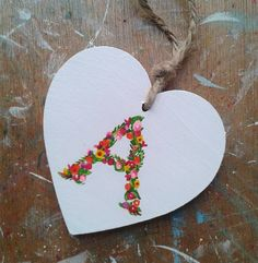 Floral Initial Gift Tag Decoration