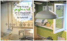 How to put pegboard on a block wall to cover up ugly pipes {and more details} | Organizing Made Fun: How to put pegboard on a block wall to cover up ugly pipes {and more details}