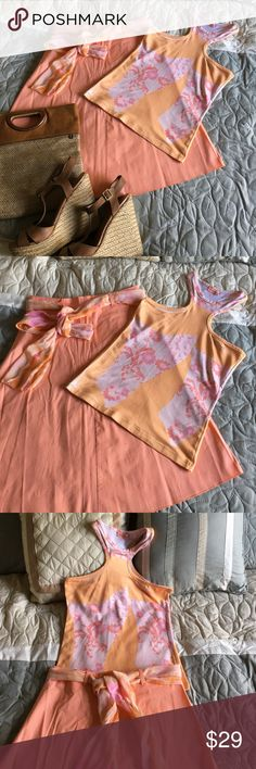 2 Pc. Adorable Skirt Set Orange/Pink 2pc/Skirt made of 95% cotton and  5% Spandex. Top is made of  💯% polyester.  This outfit will add a splash of pretty to your closet!😏 Skirts Skirt Sets