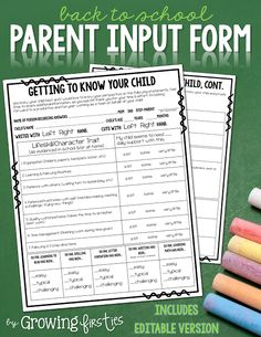 Back to School Parent Input Form freebie B2S