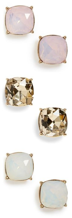 Loving all three of these shiny stone stud earrings.