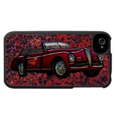 $47.95 iPhone 4 Case; Vintage 1947 Alpha Romeo 6c 2500 Sport, Convertible Classic Car. Done with Dark Burgundy Finish, Winged Fire Dragon Graphics Package and Chrome Wheels, Grill, Window and Lights. Part of Blake's Crown & Leopard Digital Graphics Collection, of Unique Cars & Mixed Graphics Packages. Created using Photoshop CS2. The Alpha Romeo 6C Model Line was Made 1925-1954, and the Company was Founded June 24, 1910 in Milan, Italy. In 2010 they Produced 119,451 Automobiles.