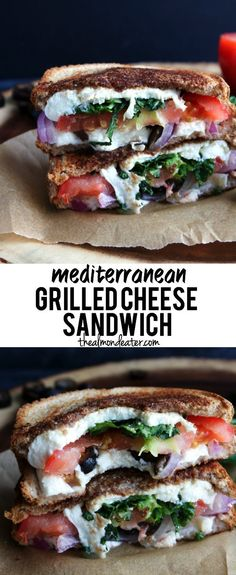 Mediterranean Grilled Cheese Sandwich - switch up your usual sandwich recipe with this mediterranean version! Use real Greek olives instead Grilled Sandwich, Soup And Sandwich, Panini Sandwiches, Veggie Sandwich, Grilled Cheese Sandwiches, Dinner Sandwiches, Cold Sandwiches, Breakfast Sandwiches, Greek Sandwich
