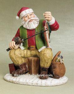 Fishing Santa | Santa Claus Figurines and Hand Carved Wooden Santas