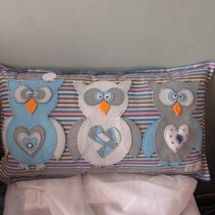 #felt decorations# striped blue owl cushion