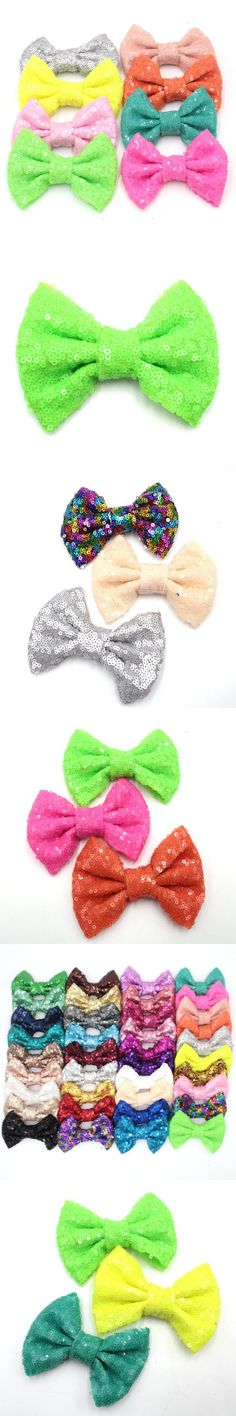 100 pcs/lot DHL 4' Handmade Sequin Messy Bow without clips, Sequin Bows For DIY Baby Headbands
