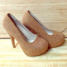 Size 6.5 copper crystal heels Tawny/copper colored suede heels with rhinestones Shoes Heels