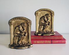 1920s Cast Iron Bookends Rodin The Thinker Statue by CalloohCallay