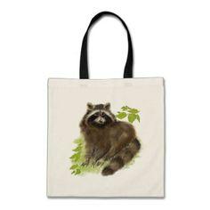 Cute Watercolor Raccoon Animal nature art Tote Bag - animal gift ideas animals and pets diy customize