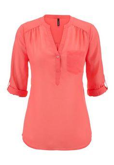 """<ul><b>Overview</b><li>semi sheer chiffon fabric</li><li>flattering v-neckline</li><li>3/4 roll tab sleeves</li><li>one pocket detail</li><li>half button henley style</li><li>perfect for work or out with friends</li><li><a href=""""http://www.maurices.com/product/index.jsp?productId=45822126"""" >View Similar style in plus sizes</a></li>  </ul><ul><b>Fabric and Care</b><li>Style Number: 31140</li><li>Imported</li><li>100% polyester</li><li>Machine wash</li></ul>"""