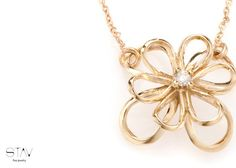 Gold flower pendant 14k gold necklace by StavFineJewelry on Etsy, $450.00