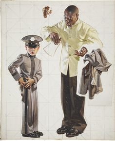 J.C. Leyendecker, original preliminary oil painting, illustration art for Saturday Evening Post cover.