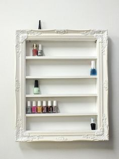 Anything rack in girls bath  Nail polish rack