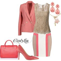 """""""Pink & Beige Business"""" by cynthiahebert on Polyvore"""