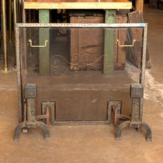 Vintage Fireplace Screen and Andirons - Columbus Architectural Salvage