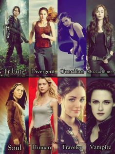The Hunger Games, Divergent, Vampire Academy,The Mortal Instruments, The Host, Warm bodies, Ruby Red and Twilight.<<<Bella Swan doesn't deserve to be there with those amazing characters z.