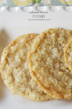 Oatmeal Lemon cookies are light and crispy! Oatmeal Lemon cookies are light and crispy! Just Desserts, Delicious Desserts, Dessert Recipes, Yummy Food, Healthy Lemon Desserts, Healthy Food, Breakfast Recipes, Lemon Recipes, Sweet Recipes
