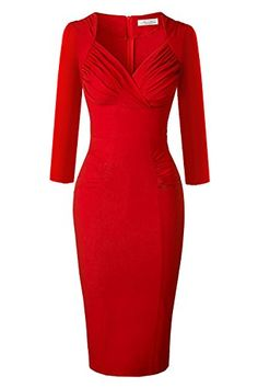 beb09ec15b Newdow Ladys 50s Vintage Vneck Capsleeve Pencil Dress Medium Red 34 Sleeve    Check out this