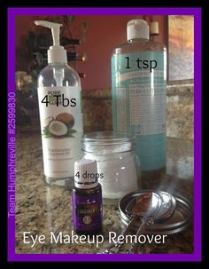 DIY EYE MAKE UP REMOVER  I used a small mason jar, and a handful of cotton pads in this recipe.  4 Tbs Fractionated Coconut Oil 1 tsp Baby Castile Soap 4 drops Lavender Essential Oil  Mix ingredients together and pour over cotton pads!   For a toner, use a 2 oz bottle and fill 3/4 with water, 2 TBSP witch hazel, 15 drops of Elemi and 5 Frankincense.