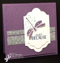 3 CARDS Set(s):	Awesomely Artistic, Tin of Cards Paper:	Whisper White, Perfect Plum, Mint Macaron, Silver Glimmer Ink:	Perfect Plum, Mint Macaron, Night of Navy Other:	Elegant Dots Embossing Folder, Lots of Labels Framelits, Basic Rhinestones, Dimensionals