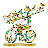 Ladderman Bicycle Riders Sculptures - There are two sides for each Art Work. David Gerstein is a well known Israeli Artist. Size: 14.4'' Height and Price:  $195.00