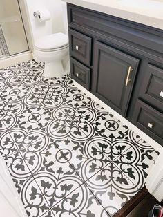 Black and white tile I Geometric Tile I Bathroom renovation I Painted Bathroom Vanity I Merola Tile I