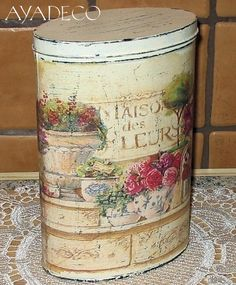 Decoupage Box, Decoupage Vintage, Vintage Tins, Shabby Vintage, Shabby Chic, Tin Can Crafts, Diy And Crafts, Tin Can Art, Inspiration Artistique