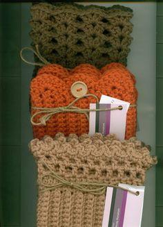 Boot/Skate Cuffs FALL Starter Set of 3-Hand Crocheted- Taupe, Pumpkin, Dk Green #Handmade